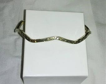 Solid Sterling Silver Wavy Ivy Bangle Bracelet