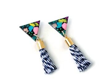 Tassel stud earrings - Tassel earrings - Triangle stud earrings - Triangle earrings - Wood triangle - Geometric stud earrings