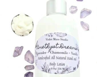 Mother's Day Sale - Dry skin lotion - Mother's Day Gift - Lavender Vanilla body lotion - February Birthstone gift - Amethyst gemstone
