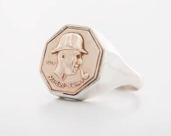 Sherlock Holmes ring, Sherlock Holmes signet ring, Sherlock ring, unique seal ring, Sherlock Holmes jewelry, Sherlock Holmes coin jewelry