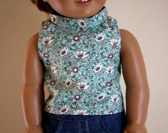 Blue Floral Tank Top for 18 inch dolls; Fits American Girl