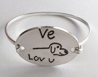 Puppy Love - You draw your lovable pet  and I create a SilverTension Bracelet - Made to Order
