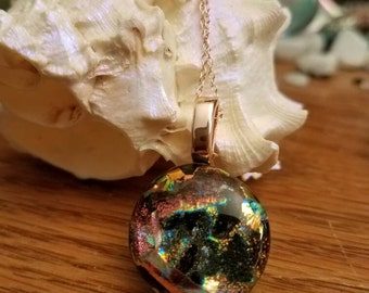 Dichroic glass necklace Rose Gold