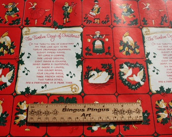 Vintage Christmas Wrapping Paper by the Yard, Twelve Days of Christmas Old Store Wrap Red Old Fashioned Christmas Gift Wrap BTY