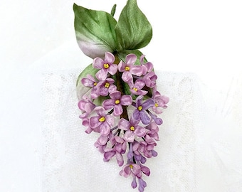 Silk lilac brooch, silk flower pin, hand dyed lilac flower pin, Silk accessories, Bridesmaid gift, purple brooch, Lilac brooch