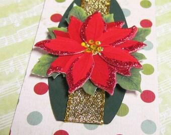 Christmas Gift Tags, Gift tags, Poinsettia Gift tag, Holiday Gift tag, handmade Gift tag