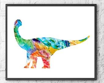 Dinosaur Print, kids dinosaur, nursery art print, dinosaur art, dino wall art, nursery dinosaur, children art, kids decor - H157