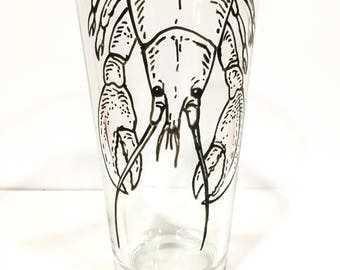 Hand Painted Animal Pint Glasses - Lobster