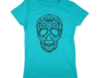 Floral Skull design2 - cool Youth Girls T Shirt - Slim Fit Girls Tee