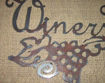 Winers Welcome Here-Metal Art Wine Signs-Home Decor-Winery decor-Vineyard decor-kitchen wall art