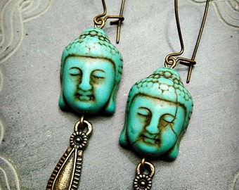 BUDDHA BLUE Earrings dangle buddhist spiritual boho jewelry