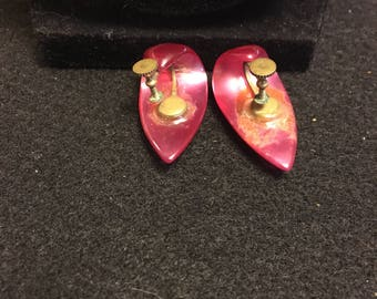 Hot Pink Moonglow Lucite Earrings
