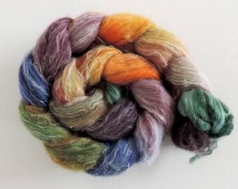 Shetland Leinen Fake Kaschmir,Tümpelfee, handbemalte Fasern zum Spinnen,120g Kammzug