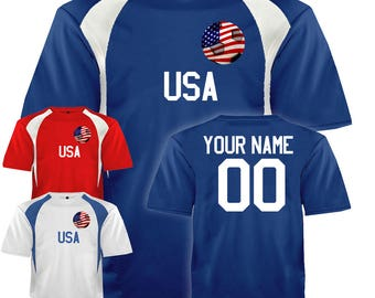 Custom USA Soccer Ball 1 Jersey Personalized with Your Names and Numbers in Your choice of Red, White or Blue