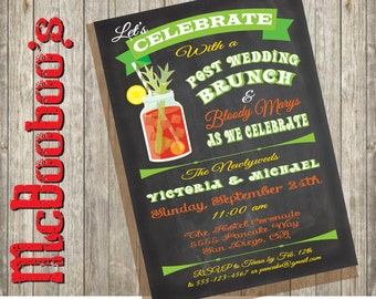 Chalkboard Post Wedding Brunch and Bloody Marys' Invitation