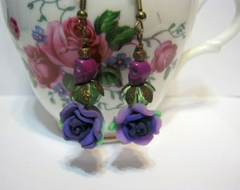 Sugar Skulls Day of the Dead  Purple Flower-Copper Gothic Earrings