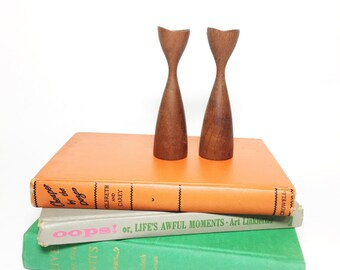 Danish Modern Teak Candle Holder Set - Candlestick Pair - Wood Taper Candle Holders - Denmark Teak - Mid Century Modern Tulip Shaped Candles