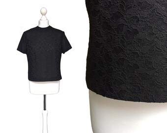 50's Vintage Blouse | Black Lace Blouse With Zip Back | Medium UK 14