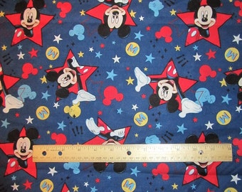 Blue Mickey Stars Cotton Fabric by the Yard