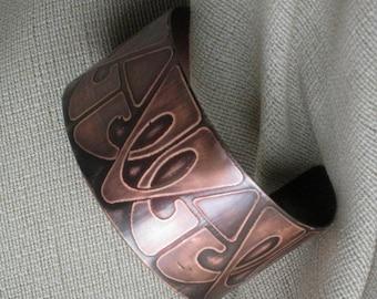 Copper Cuff - Handmade - One of a kind - Original Art Deco pattern