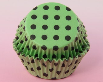 Green and Black Cupcake Liners Polka Dot, 2'' Standard Size , Baking Cups
