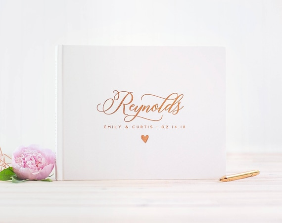 Wedding Guest Book landscape guestbook Rose Gold Foil horizontal wedding book Personalized hardcover wedding guest book wedding journal new