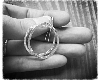Abstract Silver Hoops, Hammered Silver Earrings