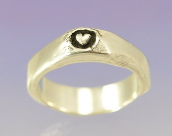 Stacking Silver Ring . Heart Within Too