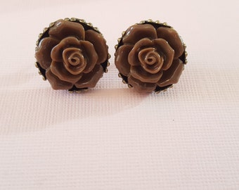 Brown Rose Studs, Rosebud, Chocolate Brown, Posts