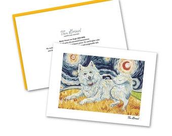 AMERICAN ESKIMO Boxed Note Card Set—Van Growl Starry Night Series