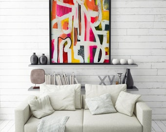 Original, Abstract painting, Wall Art, Acrylic Painting on canvas,Acrylic Art Unframed, Pink and Orange FREE SHIPPING USA 28x22