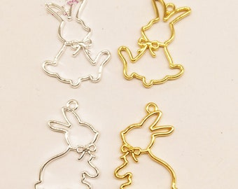 Gold Silver Bow Tie Rabbit Charm,Metal Frame Bunny Bow knot Pendant Charm Bezel Setting Cabochon Setting UV Resin Charms Making Accessories