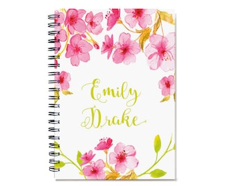 2018 2 Year Weekly Planner, Personalized 24 Month Calendar Notebook, Start Any Time, Custom Gift Idea, SKU: 2yr w pink flowers