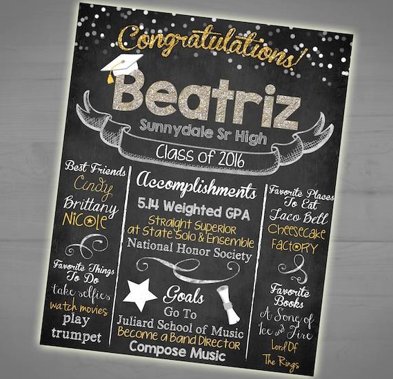 Graduation Chalkboard Sign High School Stats Poster Memory