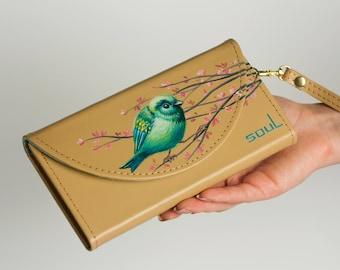 Women leather wallet. Womens wallet. Beige leather wallet. Original wallet. Big leather wallet. Handmade. Painting. Art. Bird.FREE SHIPPING!