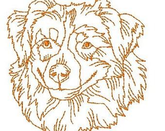 Australian Shepherd Dog Redwork   ( 10 Machine Embroidery Designs from ATW )