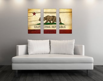 Triptych Vintage California Flag, Canvas Art, Vintage California, Gift Ideas, California Flag Canvas Art Print, Set of 3 Canvases [PP006-TC]