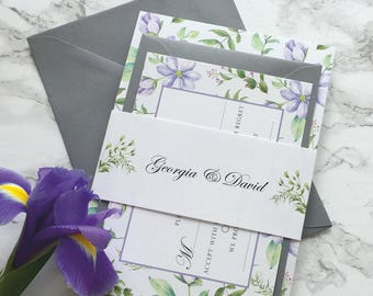 Floral Wedding Invitation Watercolour Wedding Invitation Set with reply card & belly band Wedding Invitation Suite Purple Flowers Sample