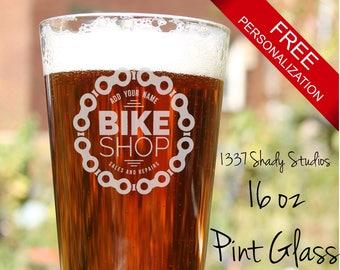 CUSTOM Bike Shop Logo Design Pint Class - Bike Lover Gifts - Bicycle Gift, Bike Decor - Laser Engraved Pint Glass - Bike Shop Design 2