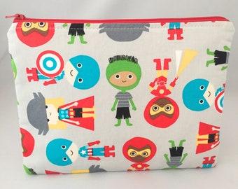 Nappy clutch/pouch made in super hero design cotton. travel bag, zippered bag, nappy bag, robert kaufman super hero