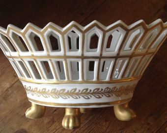 White china basket with openwork