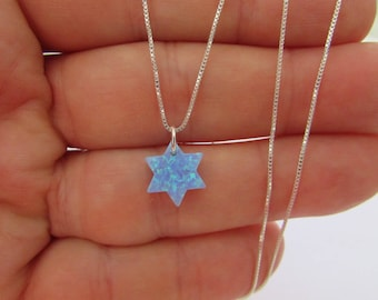 Blue Opal Star of David Necklace, Sterling Silver Chain, Opal David Star Pendant Necklace
