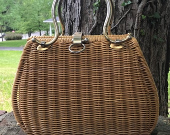 Vintage Woven Wicker Basket Handbag