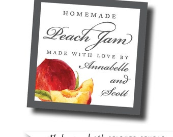 Peach jam labels, peach preserves stickers, summer wedding favors