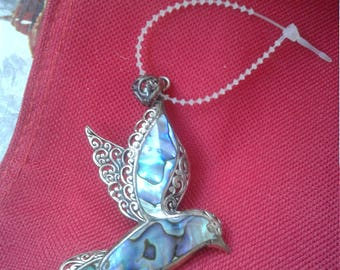 Abalone And Sterling Hummingbird Pendant/Marked 925