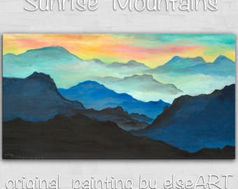 Sale Original art Abstract Painting large Oil Painting, Dawn mountain skyline Landscape Painting Rising Sun 48x24x1.4