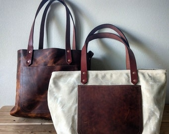 Muir Market Tote - Waxed Canvas, Horween Leather, and Cordura