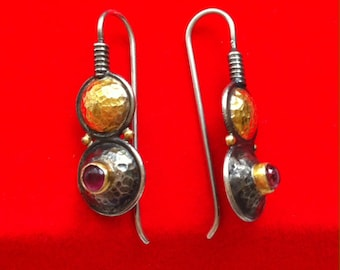 Solid Sterling Silver and 24K Gold Tourmaline Hammered Roman Style Earrings