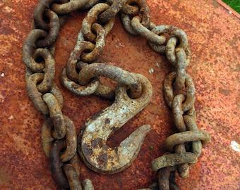 Heavy Industrial Hook and Chain (or) 6 ft...Rusty Junk, Garden Art, Industrial Lighting, Dungeon Fun, Salvage Style, Junk Style, Urban Loft