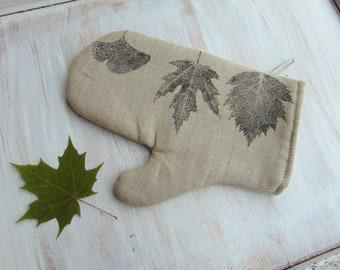 Linen fabric oven glove, kitchen mitt, kitchen textile, leaf